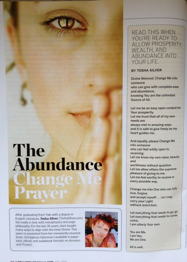Abundance Prayer Law of attraction Law of attraction magazine // I highly recommend everyone who has some sort of relationship with money and work read this mag! Love it so! Finally a magazine dedicated to spirituality & money.❤️☀️