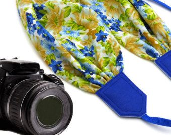 Scarf camera strap with flowers. DSLR / SLR Camera Strap.
