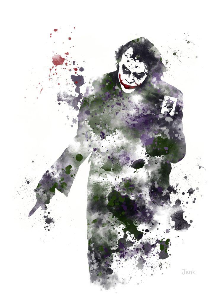 The Joker, Batman ART PRINT illustration, Supervillain, Home Decor, Wall Art. The Dark Knight by SubjectArt on Etsy https://www.etsy.com/listing/204725473/the-joker-batman-art-print-illustration