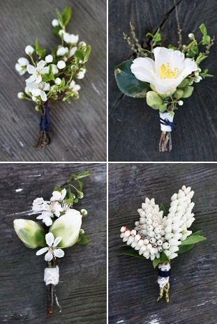 Love these boutonnieres... swap yellow centered flower with blue/navy center flower