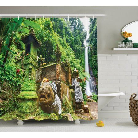 Free Shipping. Buy Balinese Decor Shower Curtain Set, Waterfall And A Small Temple In Rainforest Greenery Scenic Natural Environment Picture, Bathroom Accessories, 69W X 70L Inches, By Ambesonne at Walmart.com