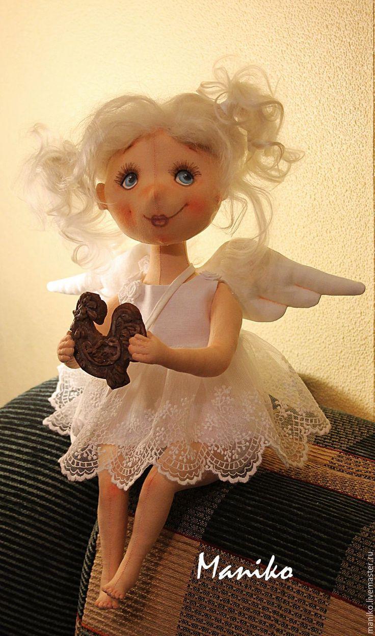 Купить Ангел с пряником - белый, ангел, ангелочек, кукла ручной работы, коллекционная кукла, пряник