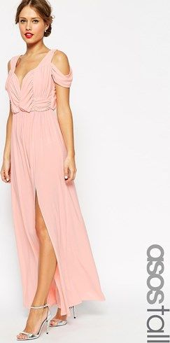 Vestido largo drapeado con hombros descubiertos Wedding de ASOS TALL, color rosa palo