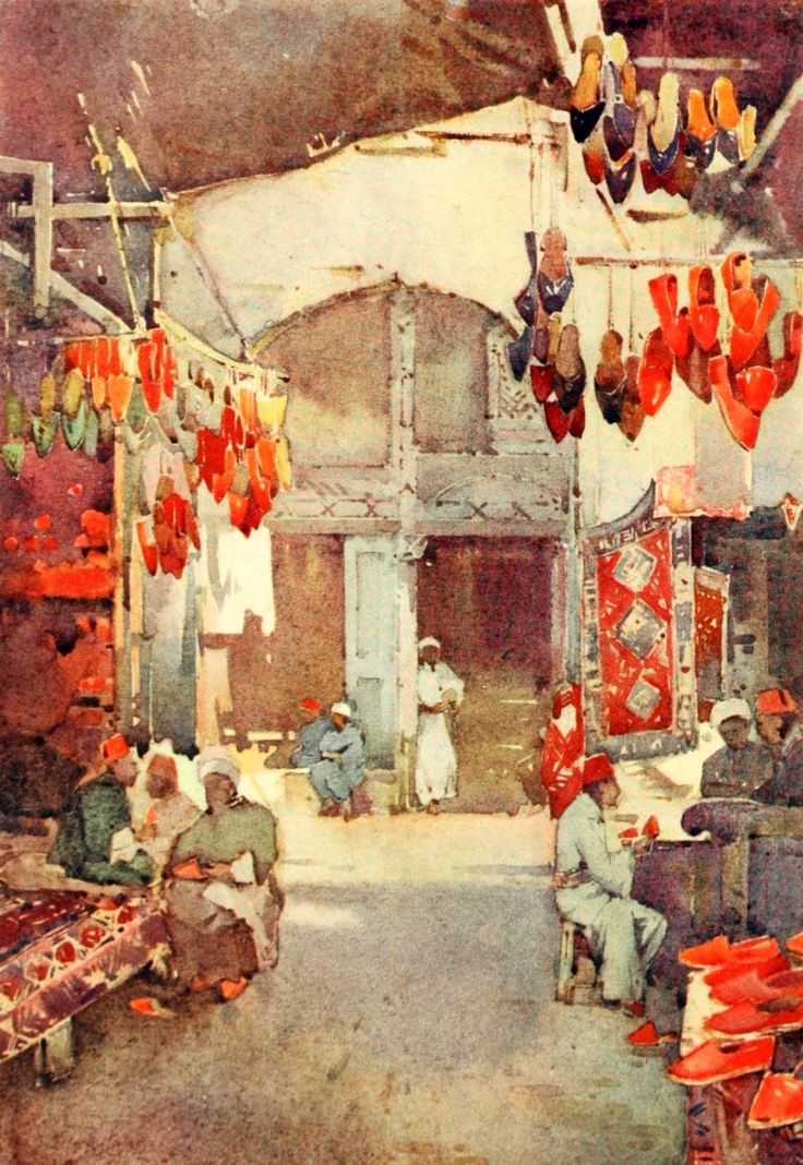 Cane, Ella du (1874-1943) - The Banks of the Nile 1913, The Shoe Bazaar, Cairo. #egypt