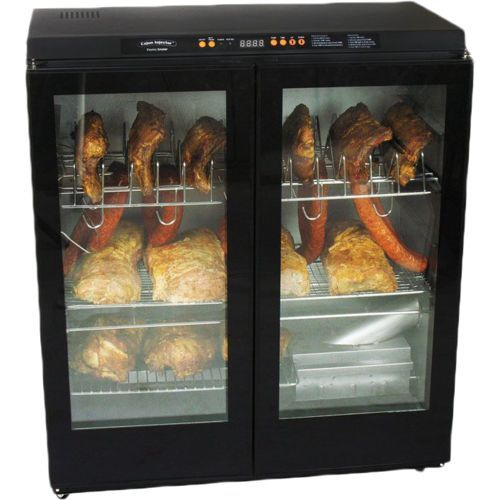 The Cajun Injector Electric Smoker XL with Glass Doors features a steel shell and 2 jerky racks.