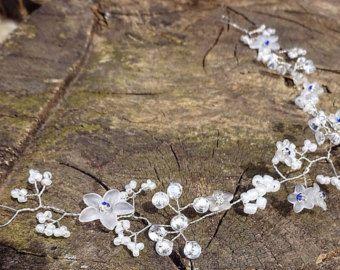 Wedding Hair Vine Pearls Silver Tiara by RaindropsonRosesx on Etsy