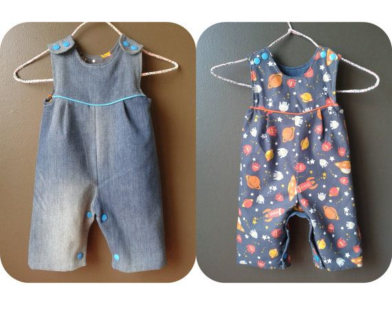 PUPPY reversible Romper sewing pattern Pdf, Overall, Dungaree, children toddler, Baby Girl Boy newborn 3 6 9 12 18 m 2 yrs Instant Download