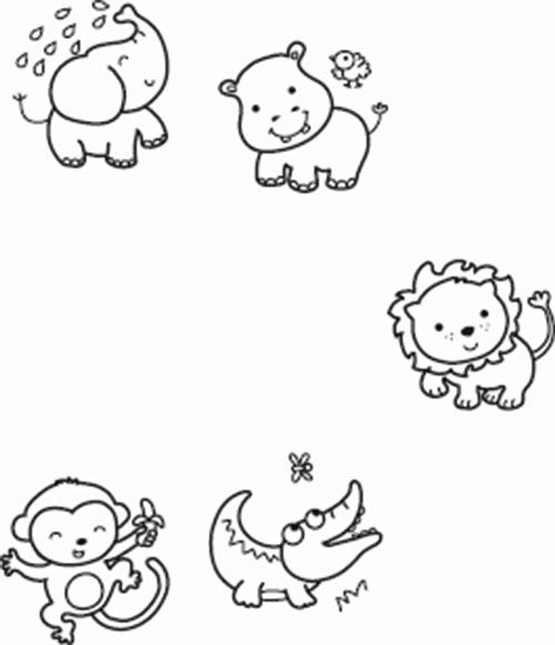 Line Drawings Of Baby Animals : Zuckerwiese animal baby cute digi stamp line