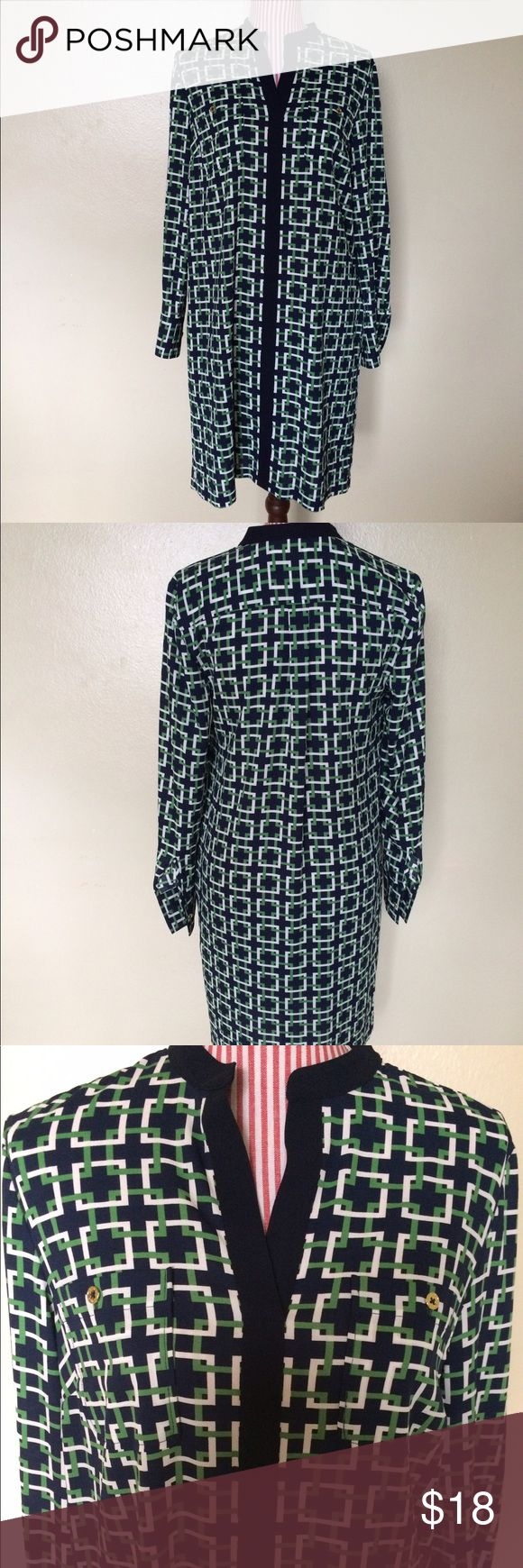 """Nautica Grn/Blue/White Pattern Dress S/M Nautica Green/Blue/White Patterned Dress, S/M. Size tag removed. Measures 38"""" underarm to underarm, 36"""" length and 24"""" at the sleeves. Nautica Dresses"""