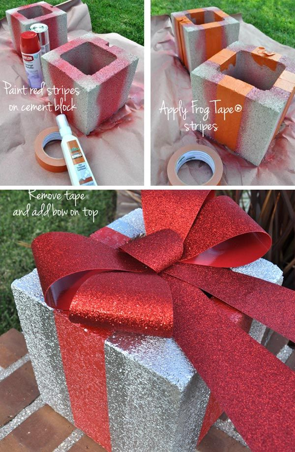 Turn Simple Concrete Blocks Into A Fun Holiday Gift Boxes With Silver Spray Paint Holiday Gift Box Fun Holiday Gift Christmas Decorations