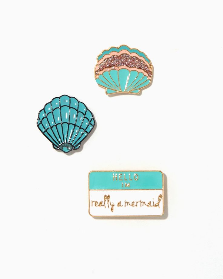 Mermaid enamel pin set