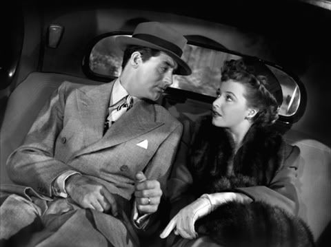 """Cary and Laraine Day in (""""Mr. Lucky"""") in 1943. Directed by H.C.Potter, produced by David Hempstead.  Screenplay by Milton Holmes and Adrian Scott.  Cary played Joe Adams."""