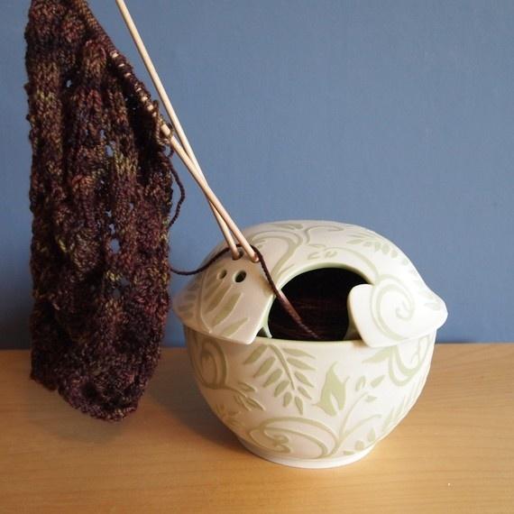 yarn bowl 2: Yarns Bowls, Embossing Green, Knits Tools, Green Ferns, Swirls Design, Lids Yarns, Online Shops, Exquisit Lids, Diy Projects