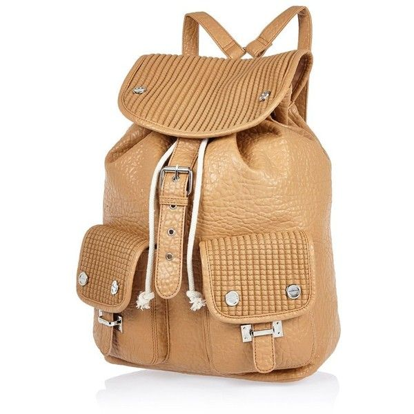River Island Brown textured rucksack ($19) ❤ liked on Polyvore featuring bags, backpacks, sale, brown rucksack, backpack bags, faux leather drawstring backpack, river island backpack and strap backpack