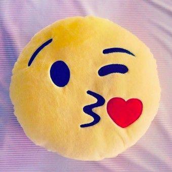 """AHHHH!!!! Kiss Emoji Pillow Smiley """"Kenny"""" - Kiss Emoji Pillow Smiley Cushion Love Chat (www.moodrush.com/shop)"""