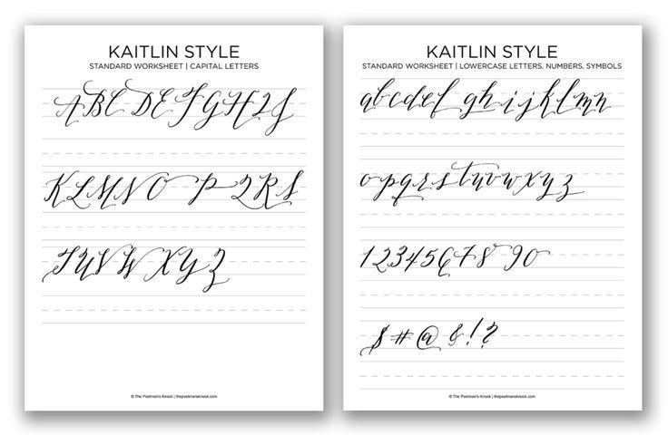 Kaitlin Style Calligraphy Free Printable Worksheet | The Postman's Knock