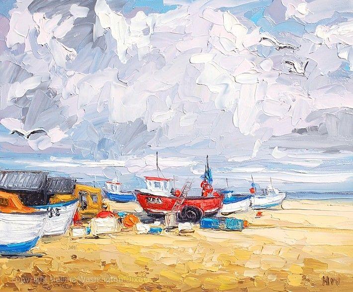 Cloudy Beach (Aldeburgh, Suffolk) by Halima Washington-Dixon (impasto painting, palette knife)