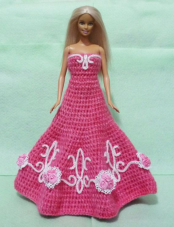 Crocheted+Barbie+Dress+09+by+HakoAmigurumi+on+Etsy,+$35.00