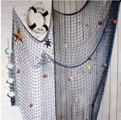 1*2m,2*4m Blue/White Fishing Net,bar 3d wall decoration Nautical Home Decor for embroidery Mediterranean Style Sticker Crafts