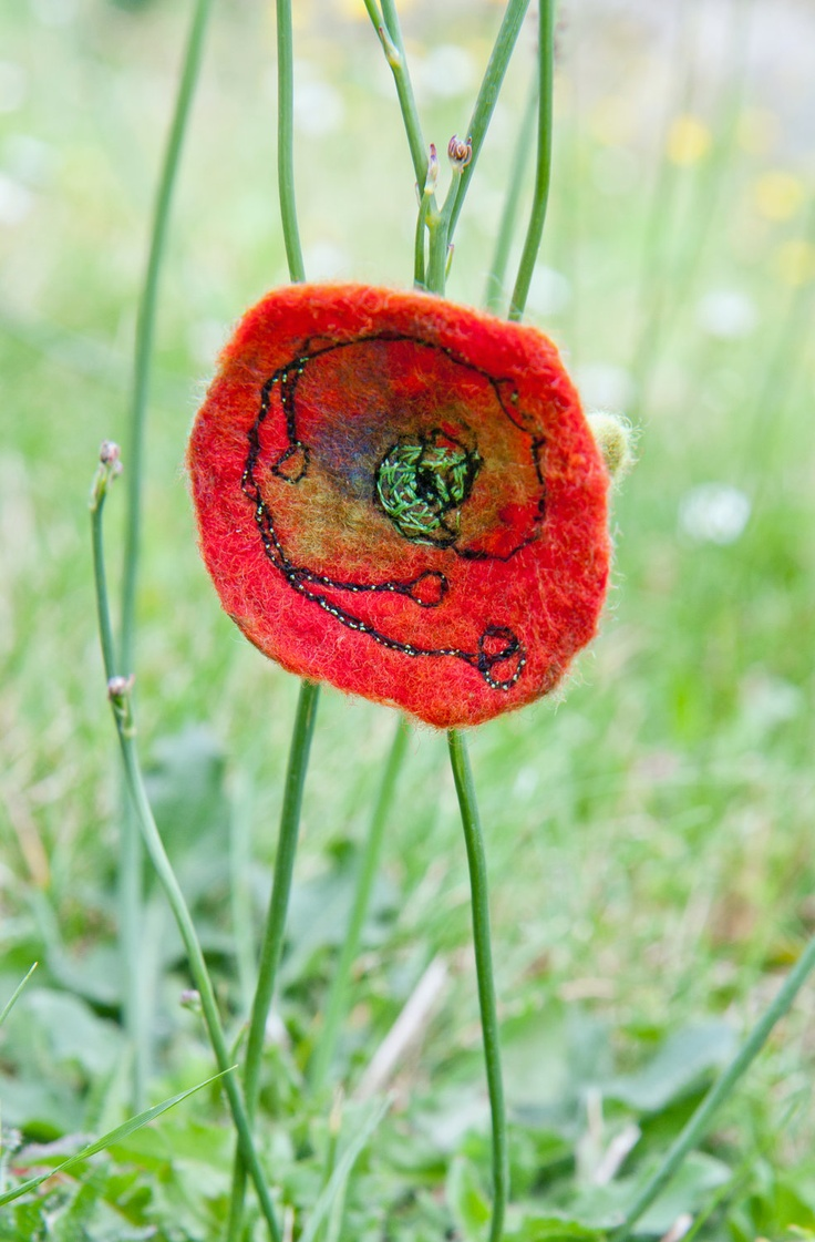 Red poppy flower felt embroidery