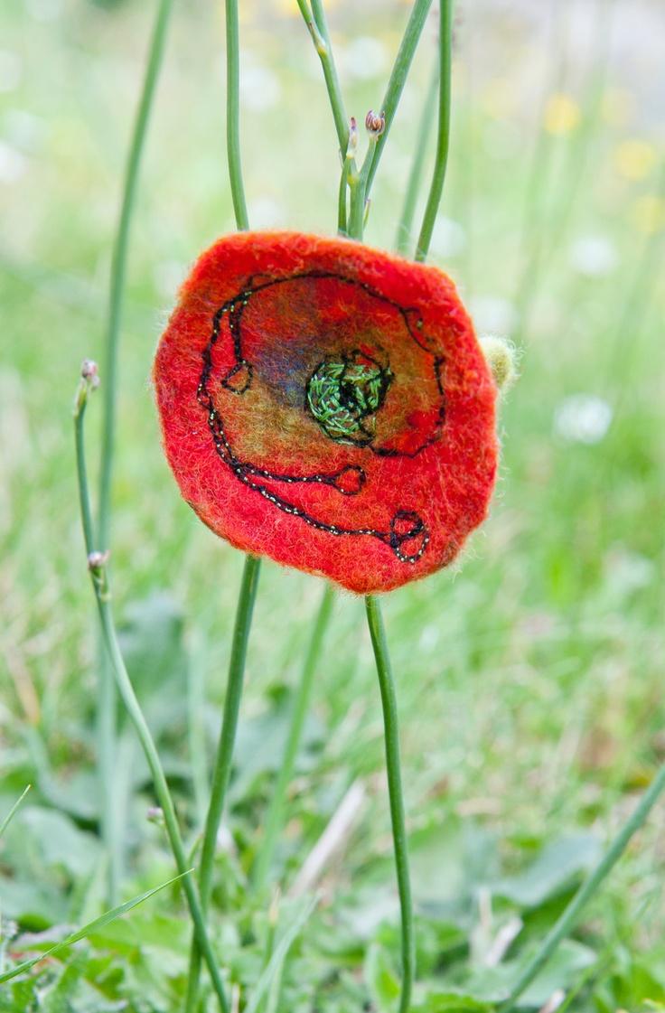 Red poppy flower felt embroidery