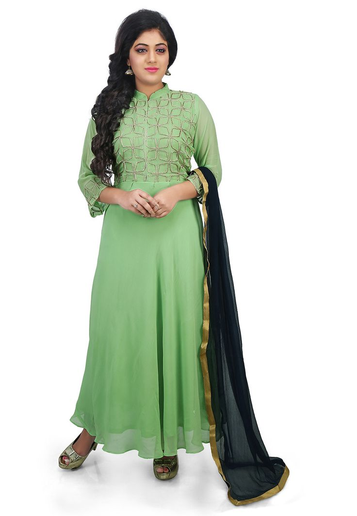 Hand Embroidered Yoke Georgette Abaya Style Suit in Green