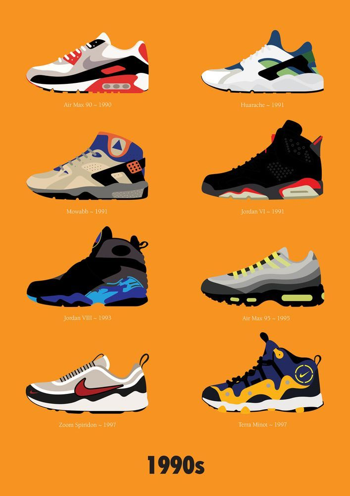 Nike fan and illustrator Stephen Cheetham has created a visual timeline of Nike sneaker design from the 1970s on through the '00s.