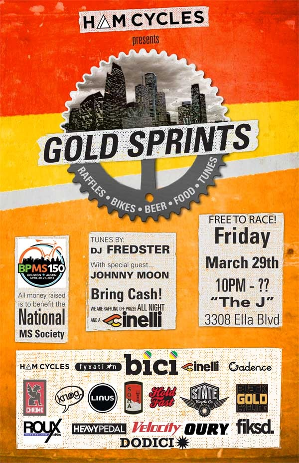 Check out the HAM Cylcles MS fundraiser taking place March 29th. Gold Sprints and plenty of knog schwag to be had.    Head on over to HAM Cycles events page for more info.