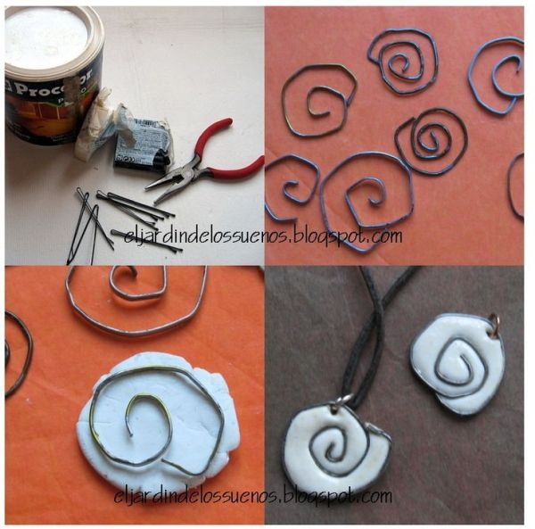 Polymer clay and wire pendant - free tutorial. Looks super easy - and imagine how cool it would look with patterned clay! Or maybe epoxy clay to add some bling?? by angelique