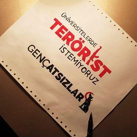 İstemiyoruz!  #GENCATSIZLAR #ÜNİVERSİTELERDETERÖRİSTİSTEMİYORUZ  #TURK #TURKCU #ATSIZ #ATSIZATA #ATATURK #MUSTAFAKEMAL #HUSEYINNIHALATSIZ #EYKUTLUATAMATSIZ #BOZKURT #NEMUTLUTURKUMDIYENE #TURKIYE #TÜRK #TÜRKÇÜ #atsiz @turkcu_andaniz @ulug_turk @atsizintalebeleri