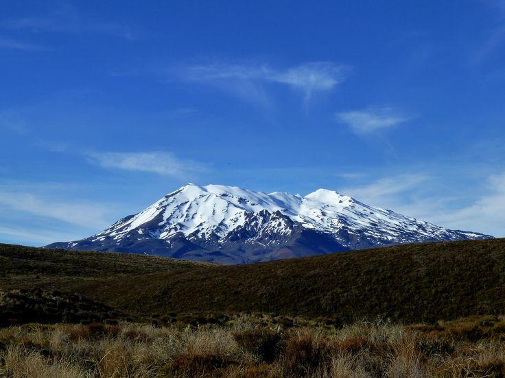 Stunning snow capped peaks abound in Tongariro National Park. Mt Ruapehu here.