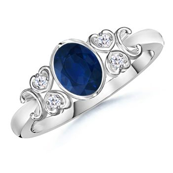 Angara Leaf Carved Shank Tanzanite and Diamond Vintage Ring in Platinum