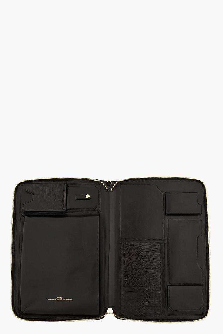 JUUN.J Black Leather Snakeskin iPad Travel Case
