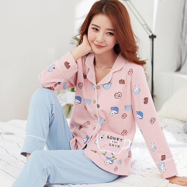 Big Yards M-xxl Women Pajamas Sets Cotton Nightwear Spring Autumn Long Sleeve Pyjamas Turn Down Collar Sleepwear Female Pijamas #Affiliate
