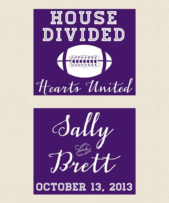 Football Wedding Koozie - House Divided, Hearts Unitied #Etsy #FootballSeason #Koozie