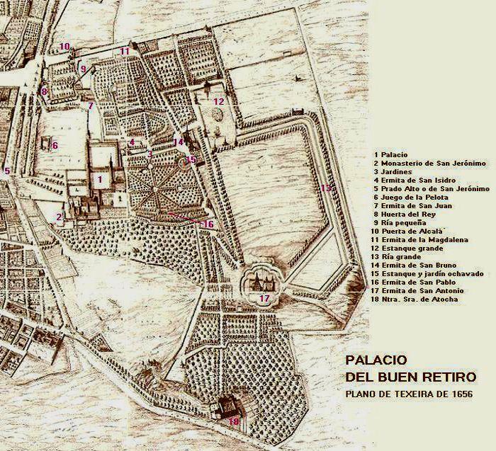 Real Sitio del Buen Retiro según el plano de Texeira de 1656
