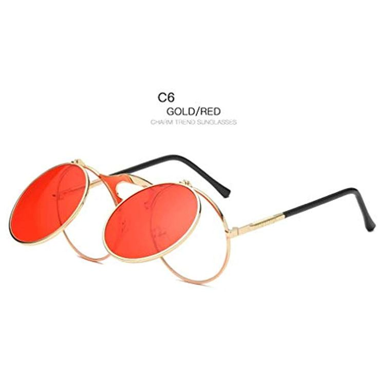 Wang-RX Klassische vintage runde sonnenbrille männer linsen flip metallrahmen s...