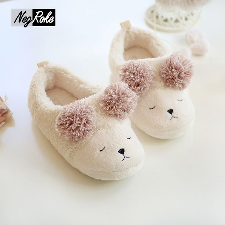 Cute Sheep Warm Winter shoes women home slippers women Indoor Plush house Shoes Soft Bottom Flats shoes for men chinelo pantufa