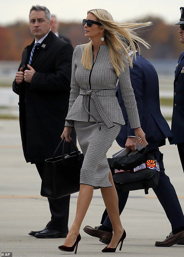 2b5bc917bcfa0 Busy: Ivanka traveled to Cleveland, Ohio, with her father on Monday to rally  Republican support ahead of the midterm elections