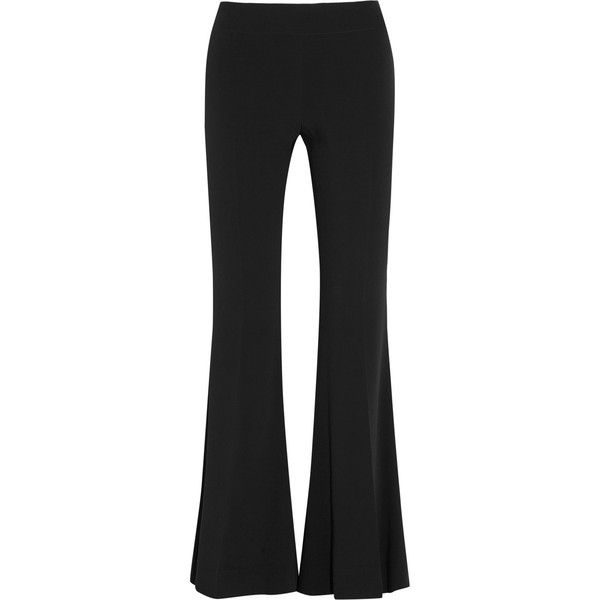 Acne Studios Mello stretch-crepe flared pants (625 CAD) via Polyvore featuring pants, black, acne studios, black pants, cropped trousers, black trousers and shiny pants
