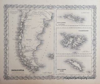 Colton's-Patagonia-South-Orkney-or-Powell's-Group-Falkland-Islands-and-South-Georgia-Island South America Maps of Antiquity