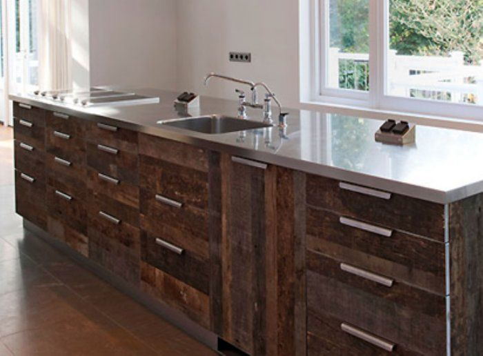 Barnwood Kitchen Cabinets With Stainless Steel Countertop