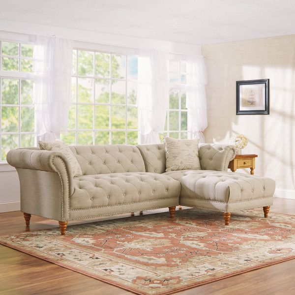 "Fiona 103"" Right-Facing Tufted Sectional Sofa | Joss & Main"