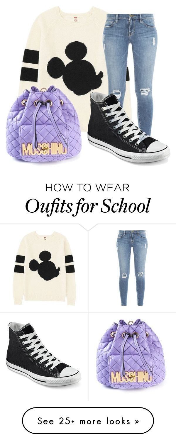 """""""School day"""" by divagirl7 on Polyvore featuring Uniqlo, Frame Denim, Moschino and Converse"""