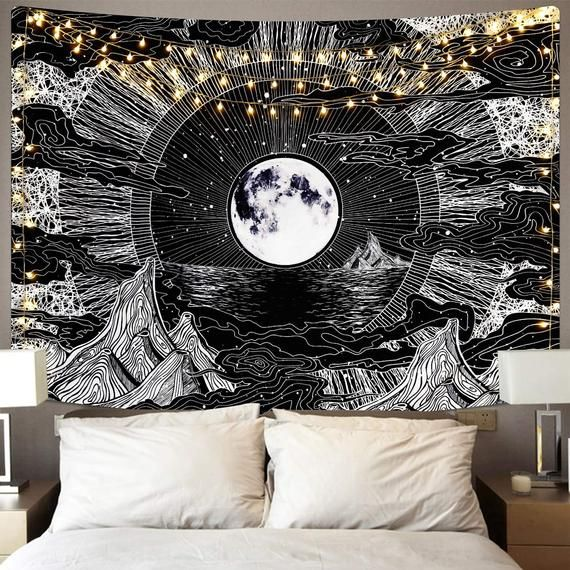 Tapestry for Bedroom Moon Wall Hanging Tapestry Aesthetic Home Decor Beach Blanket Dorm Room Living Room Wall Decorations Trippy Eclipse Tapestries