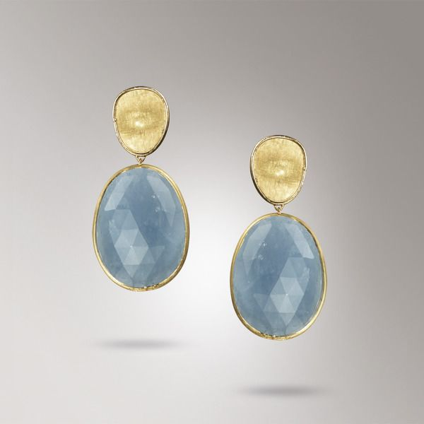 Marco Bicego Lunaria Collection -- 18k yellow gold with dark Aquamarines.