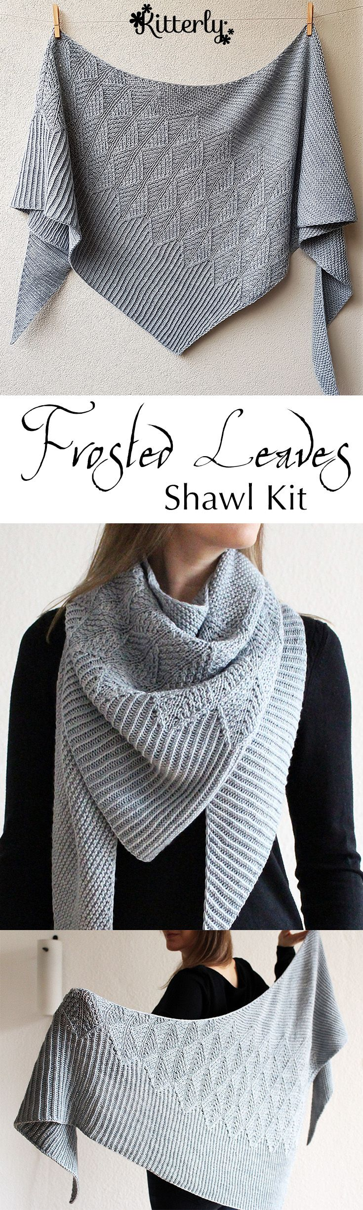 Frosted Leaves shawl knitting kit designed by Lisa Hannes. #kitterlykits