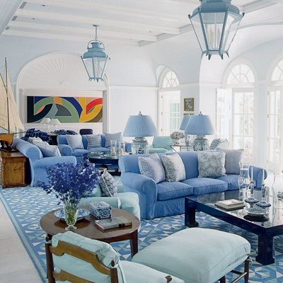 Repeated geometry adds interest and energy without competing with the soothing feel of the blues in this Diamond-Baratta designed space.