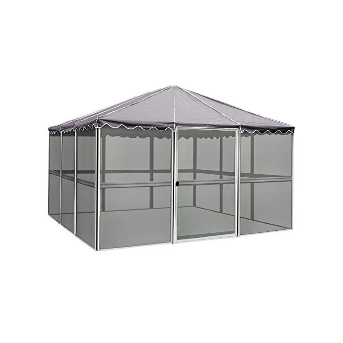 Casita 12 Panel Square Screenhouse 21122 White With Gray Roof Screen House Roofing Paneling