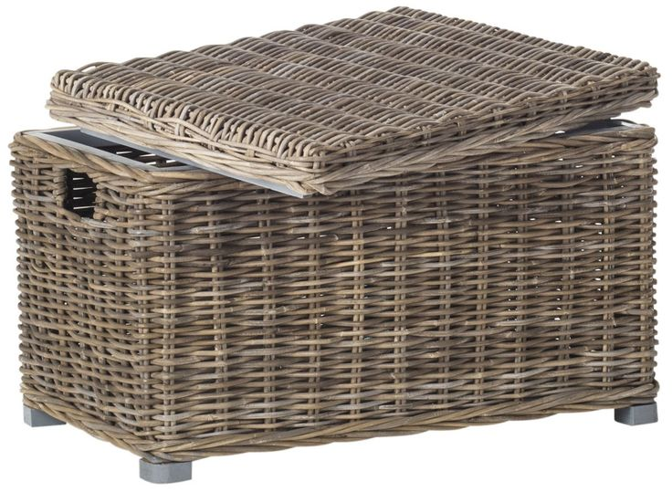 Inspired by a vintage European design, this transitional storage trunk features a casual mix of grey kubu rattan and mahogany and handles for portability. Craft